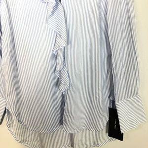 Zara Tops - NWT $36  ZARA Blue Striped Ruffle Shirt    Size: M